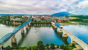 Drone Aerial of Downtown Chattanooga Tennessee TN stock photography
