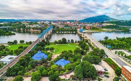 Drone Aerial of Downtown Chattanooga Tennessee TN Skyline stock photo