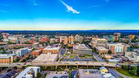 Drone Aerial of Downtown Greenville SC South Carolina Skyline stock photography