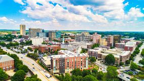 Drone Aerial of Downtown Greenville, South Carolina Skyline stock photos