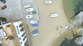 Drone Aerial Fishing Village 06 Royalty Free Stock Photography