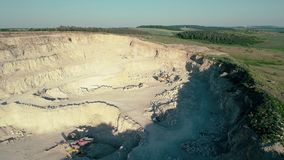 4K drone aerial footage. Fly over a mountain stone quarry. Drone aerial footage. Fly over a mountain stone quarry stock video