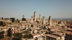 Drone aerial footage of the wonderful village of San Gimignano. Unesco World Heritage. Tuscany, Italy. Drone aerial footage of the wonderful village of San stock footage