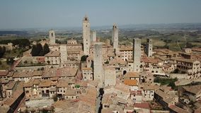 Drone aerial footage of the wonderful village of San Gimignano. Unesco World Heritage. Tuscany, Italy. Drone aerial footage of the wonderful village of San stock video