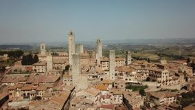 Drone aerial footage of the wonderful village of San Gimignano. Unesco World Heritage. Tuscany, Italy. Drone aerial footage of the wonderful village of San stock video footage