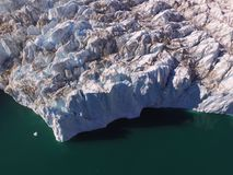 Drone aerial image of a glacier terminus in a fjord in northeast Greenland. Drone aerial image acquired during a research cruise to northeast Greenland in summer royalty free stock photo