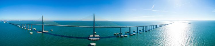 Aerial panorama Sunshine Skyway Bridge Tampa Bay Florida USA. Drone aerial image of the Sunshine Skyway Bridge Tampa Florida USA stock photos