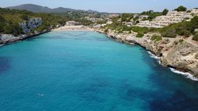 Drone aerial landscape of the beautiful bay of Cala Anguila, Majorca, Spain. Drone aerial landscape of the beautiful bay of Cala Anguila with a wonderful stock video