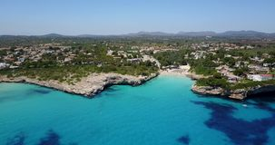 Drone aerial landscape of the beautiful bay of Cala Anguila, Majorca, Spain. Drone aerial landscape of the beautiful bay of Cala Anguila with a wonderful stock footage