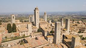 Drone aerial landscape of the wonderful village of San Gimignano. A Unesco World Heritage. Tuscany, Italy stock image
