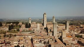 Drone aerial landscape of the wonderful village of San Gimignano. A Unesco World Heritage. Tuscany, Italy. Drone aerial landscape of the wonderful village of San stock video footage