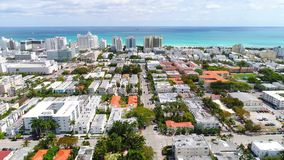 Drone aerial Miami Beach Florida, USA stock video footage