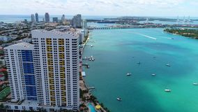Drone aerial Miami Beach Florida, USA stock footage