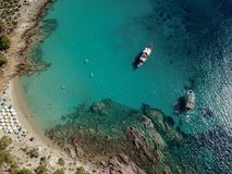 Drone Aerial Photo of a Blue Water Beach at the greek Island of stock photos