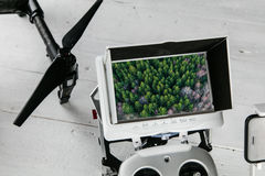 Drone aerial photography concept - Radio control transmitter with monitor. Stock Photos