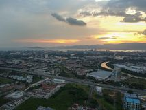 Drone aerial photography sunset view from above permatang pauh and seberang jaya. Drone photography sunset view above permatang pauh and seberang jaya across Royalty Free Stock Photos