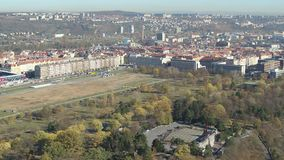 Drone aerial Prague General Arena downtown. European city stock video