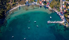 Drone aerial shot of central Corfu Greece.  Stock Images