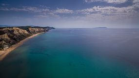 Drone aerial shot of south Corfu Greece.  Stock Images