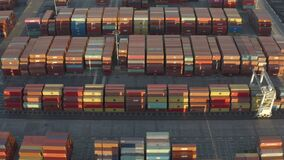 Drone, aerial shot of thousands of containers in the Long Beach port holding area
