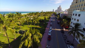 Drone aerial South Beach stock video footage