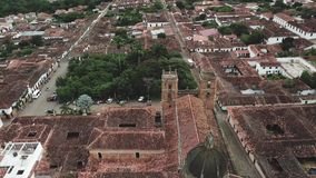 Drone aerial video of Barichara in Colombia stock footage