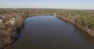 Drone Aerial Video of Lake Park, Raleigh, NC stock footage