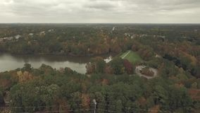 Drone Aerial Video of Lake and skyline near Raleigh North Carolina stock video