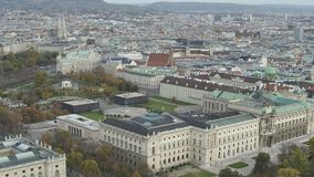Drone aerial Vienna state opera and cityscape stock video