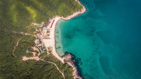 Drone aerial view from above on beautiful bay royalty free stock images