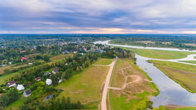 Drone aerial view from above land photography Stock Photo