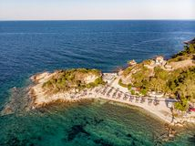 Drone aerial view of a beach in Thassos stock photo
