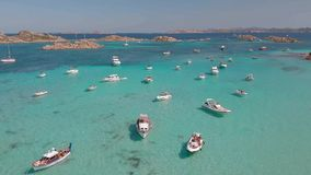 Drone aerial view of boats in Maddalena Archipelago, Sardinia, Italy. stock video