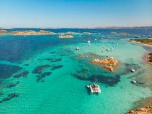 Drone aerial view of catamaran sailing boat in Maddalena Archipelago, Sardinia, Italy. royalty free stock image