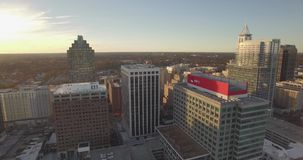 Drone Aerial View of City Skyline Raleigh, NC