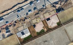 Drone Aerial View Cross Section of Home Construction Site Royalty Free Stock Photos