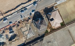 Drone Aerial View Cross Section of Home Construction Site Stock Photography