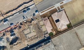 Drone Aerial View Cross Section of Home Construction Sitei Royalty Free Stock Image