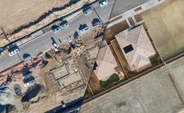 Drone Aerial View Cross Section of Home Construction Site. S stock photography