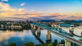 Drone Aerial View of Downtown Chattanooga Tennessee and Tennessee River royalty free stock photos