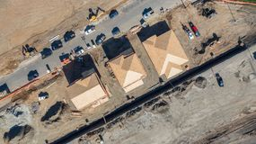 Drone Aerial View of Home Construction Site Early Stage. Drone Aerial View of Home Construction Site Early Stages Stock Photo