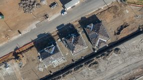 Drone Aerial View of Home Construction Site Early Stage. Drone Aerial View of Home Construction Site Early Stages Royalty Free Stock Image