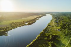 Drone aerial view of Nemunas river, a major Eastern European riv royalty free stock photo