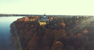 Drone aerial view of Pazaislis monastery, Kaunas, Lithuania stock video