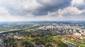 Drone aerial view photography with Warsaw suburbs. Drone aerial view from above photography with Warsaw suburbs Stock Image