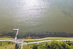 Drone aerial view of Telsiai, Lithuania stock photo