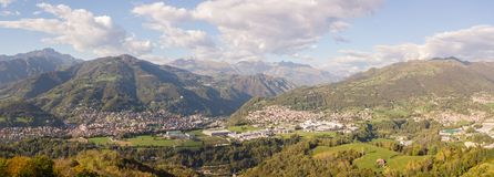 Drone aerial view to the villages of Leffe, Gandino, Casnigo, Peia and Cazzano Sant Andrea, Bergamo, It Royalty Free Stock Images