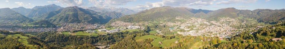 Drone aerial view to the villages of Leffe, Gandino, Casnigo, Peia and Cazzano Sant Andrea, Bergamo, It. Drone aerial view to the villages of Leffe, Gandino Royalty Free Stock Image