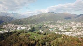 Drone aerial view to the villages of Leffe, Gandino, Casnigo, Peia and Cazzano Sant Andrea, Bergamo, It. Drone aerial view to the villages of Leffe, Gandino stock video
