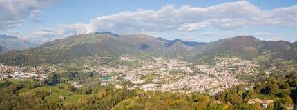 Drone aerial view to the villages of Leffe, Gandino, Casnigo, Peia and Cazzano Sant Andrea, Bergamo, It. Drone aerial view to the villages of Leffe, Gandino Royalty Free Stock Photos
